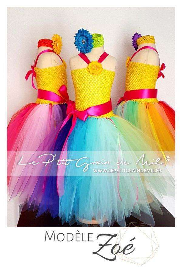 robe tutu mariage arc en ciel en tulle multicolore femme fille mariée cérémonie enfant anniversaire rainbow