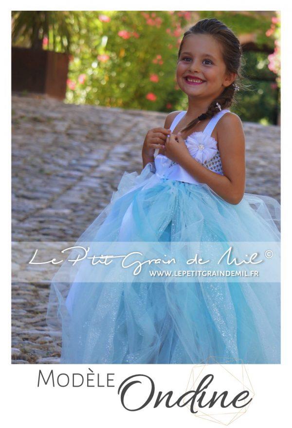 robe tutu mariage fille bleu lagon demoiselle d'honneur enfant