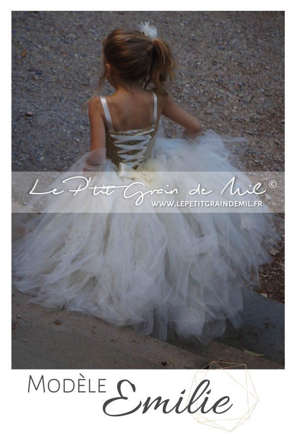 robe tutu mariage fille cérémonie demoiselle d'honneur enfant princesse or ivoire lacet