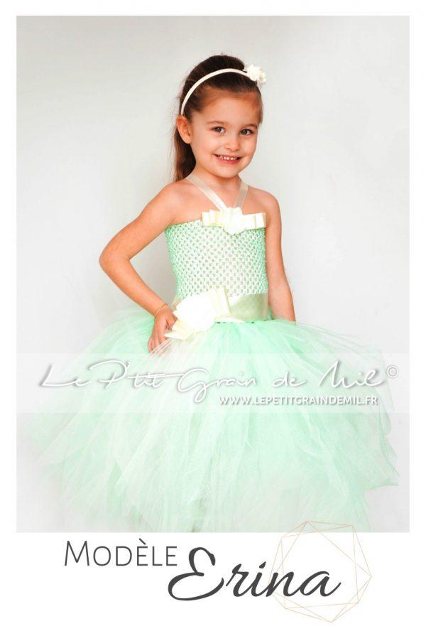 robe tutu mariage fille vert d'eau cérémonie demoiselle d'honneur enfant