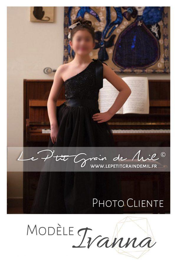 robe tutu noire cérémonie soirée piano petite fille paillettes