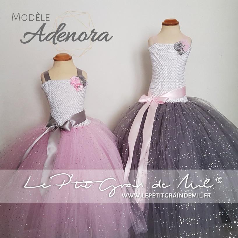 Robe Tutu Ceremonie Princesse Pour Fille Blanc Gris Et Rose Adenora