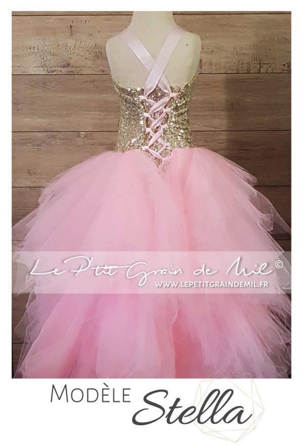 robe tutu princesse asymétrique enfant or rose sequins paillettes brillante mariage noël cérémonie demoiselle d'honneur