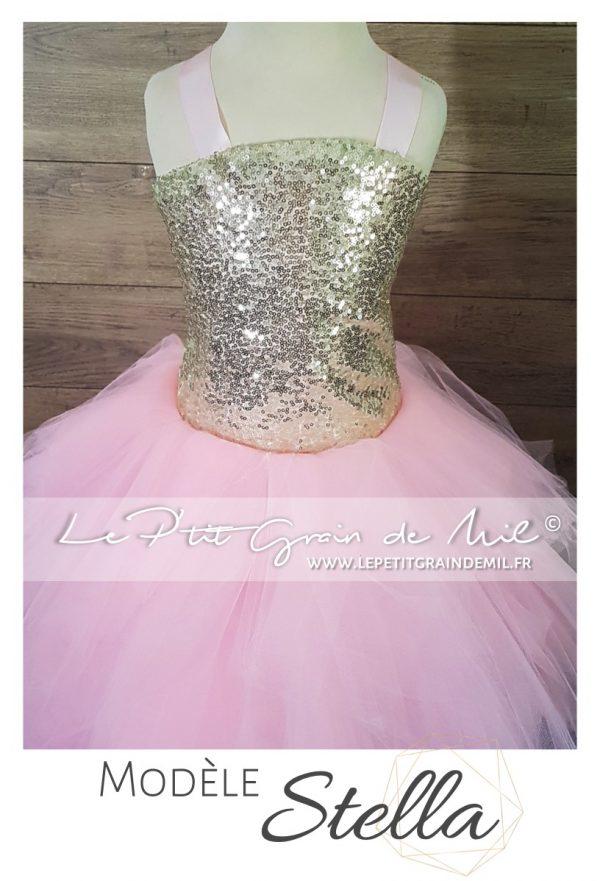 robe tutu princesse asymétrique fille or rose sequins paillettes brillante mariage noël cérémonie demoiselle d'honneur