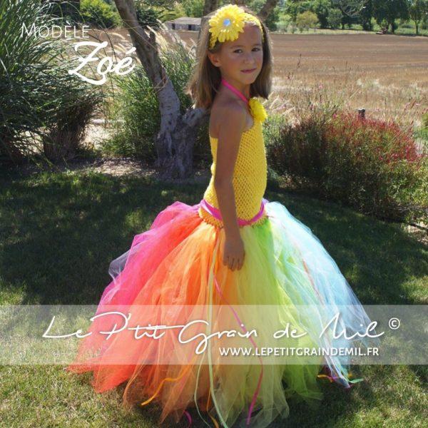 robe tutu princesse bébé fille longue multicolore rainbow arc en ciel - copie