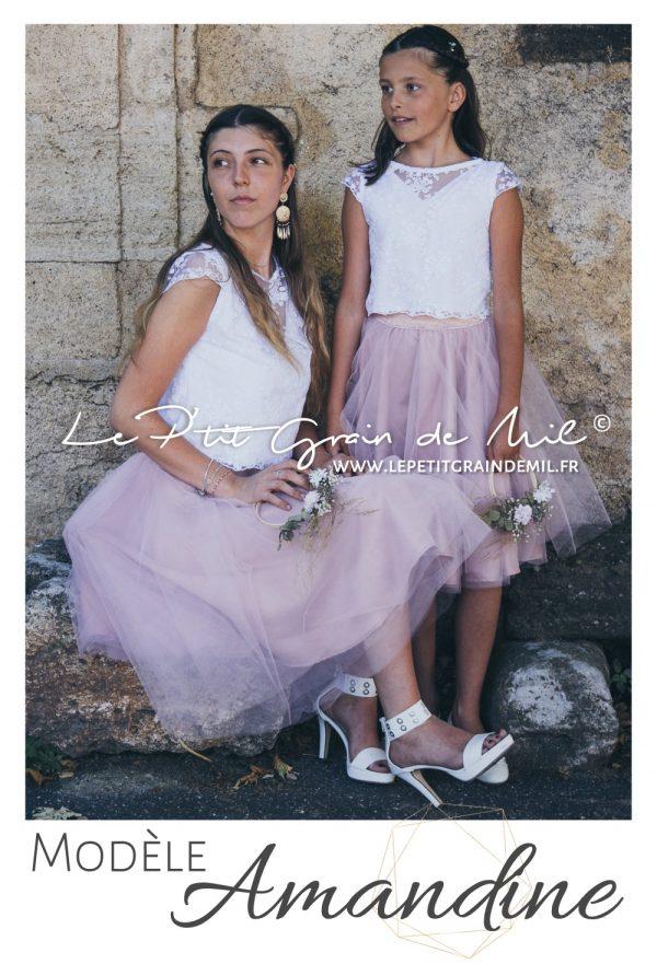tenue cortege mariage boheme boho chic top crop dentelle enfant femme jupe tutu en tulle vieux rose