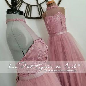 robe de demoiselle d'honneur assortie mère fille vieux rose mariage jupe tutu en tulle