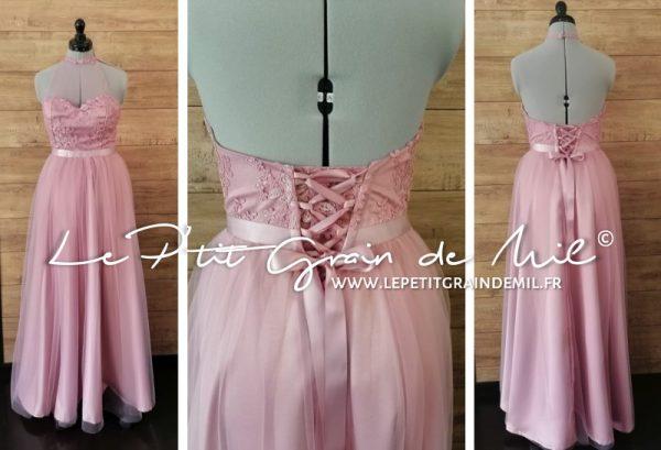 robe demoiselle d'honneur fille femme vieux rose