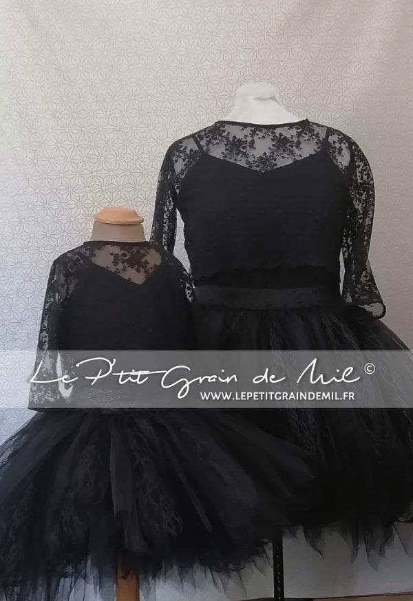 tenue assortie mere fille crop top dentelle noire tutu ultra bouffant mariage