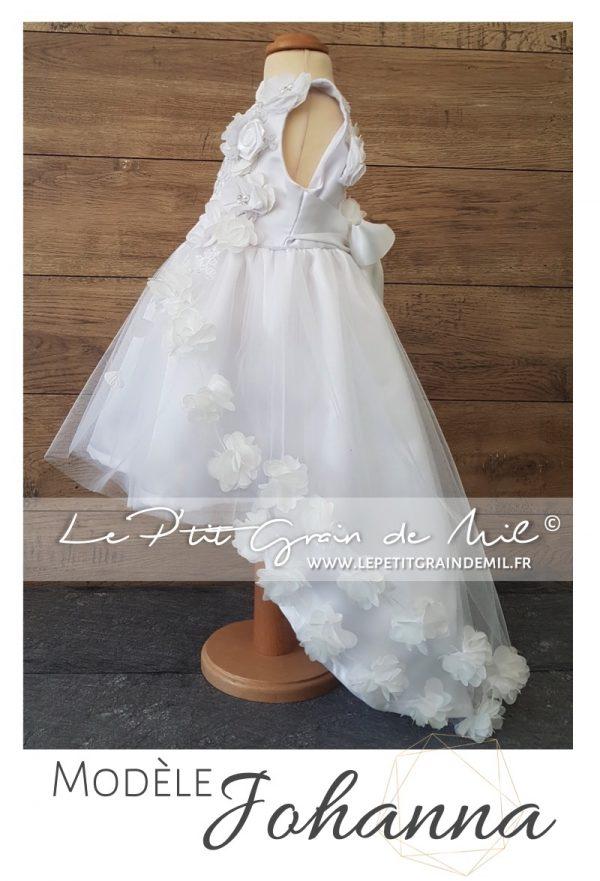 Robe de cérémonie enfant asymétrique avec traine mariage baptême princesse tulle fleurs dentelle