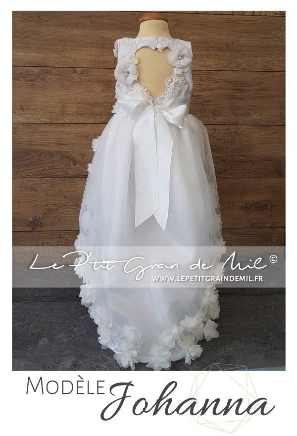 Robe de cérémonie enfant asymétrique dos coeur sans manches princesse