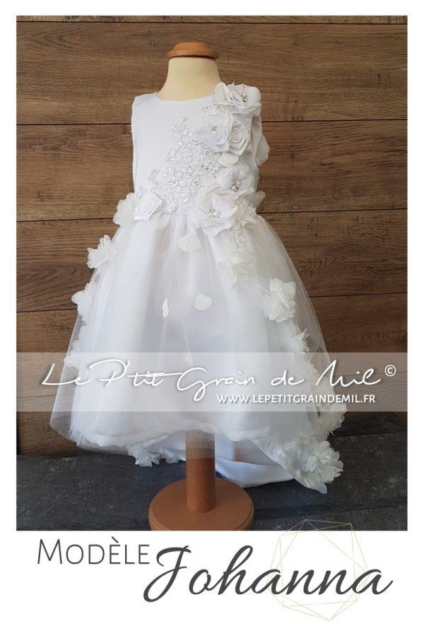Robe de cérémonie enfant asymétrique en tulle et dentelle baptême mariage princesse fleurs