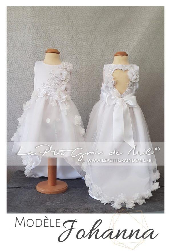 Robe de cérémonie enfant asymétrique mariage bapteme dos nu coeur sans manches princesse fleurs dentelle