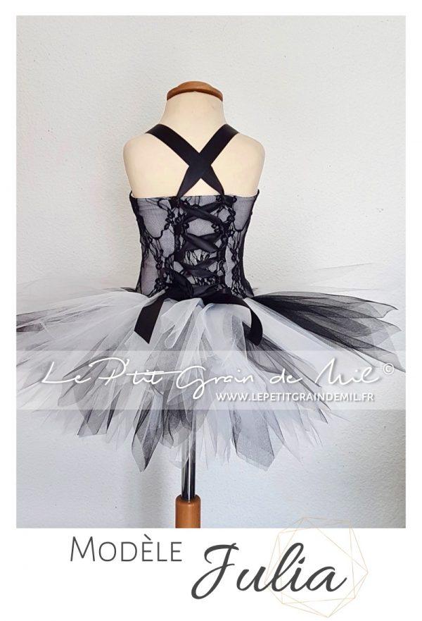 robe cérémonie enfant noire et blanche robe tutu enfant dentelle