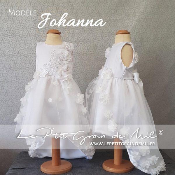 robe de baptême asymétrique princesse bébé fille tulle dentelle sequins fleurs