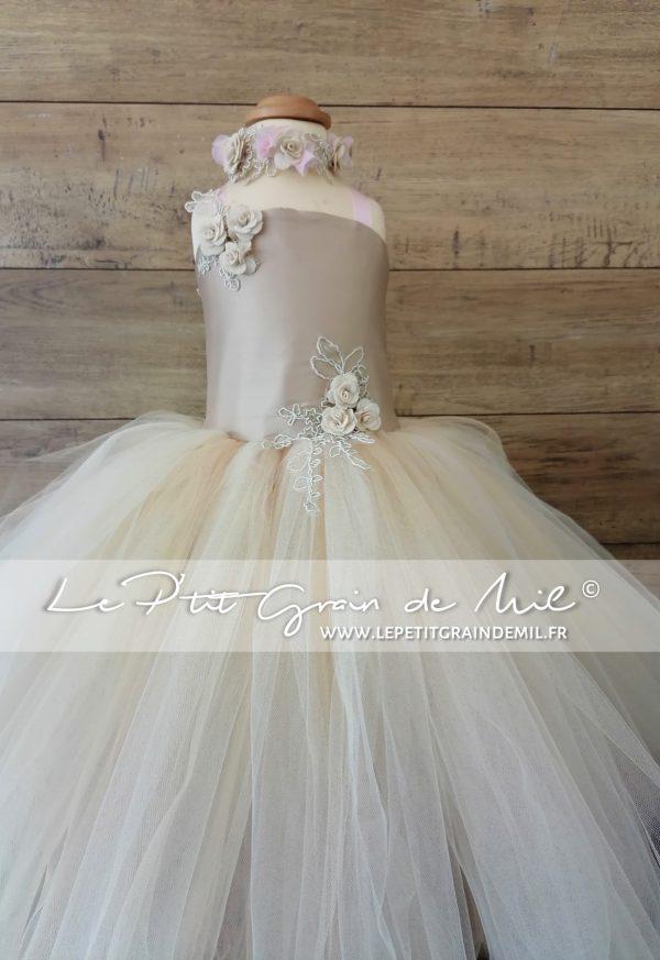 robe de princesse en tulle robe tutu ultra volume mordoré champagne doré beige écru rose