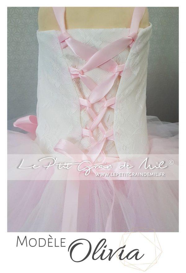 robe tutu de princesse dentelle et tulle mariage cérémonie rose poudré ivoire