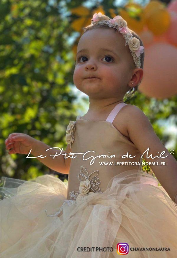 robe tutu de princesse doré mordoré en tulle mariage cérémonie bohème champêtre annivesraire bébé 1 an petite fille