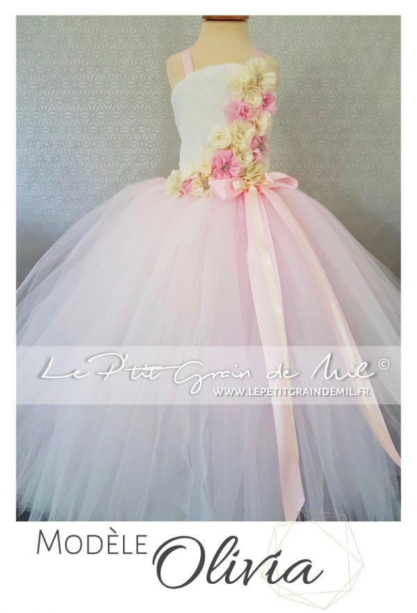 robe tutu de princesse rose poudré et ivoire pour petite fille cérémonie mariage baptême