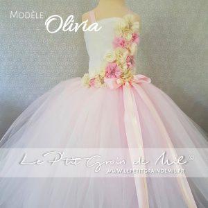 robe tutu de princesse rose poudré ivoire pour petite fille cérémonie mariage baptême