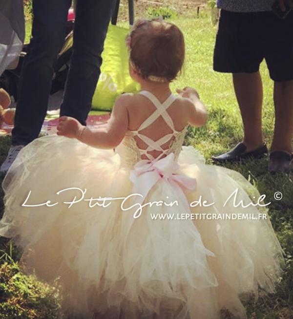 robe tutu en tulle de princesse mariage cérémonie lacet dans le dos robe féérique pour bébé enfant petite fille