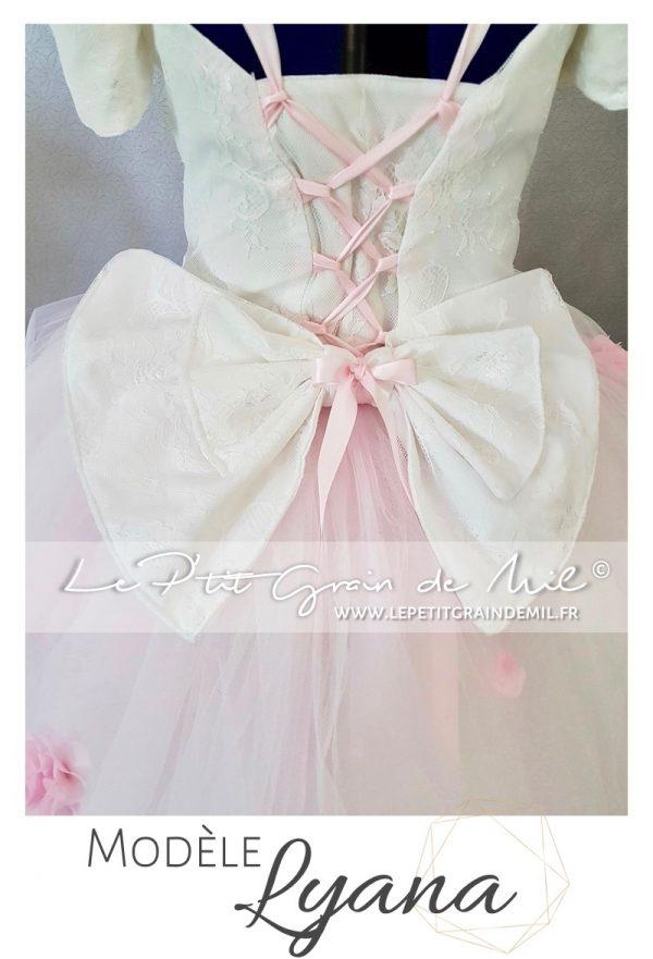 robe tutu en tulle mariage cérémonie enfant fille gros noeud lacet dos princesse