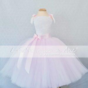 robe tutu princesse cérémonie rose poudré et blanche enfant maxi volume dentelle