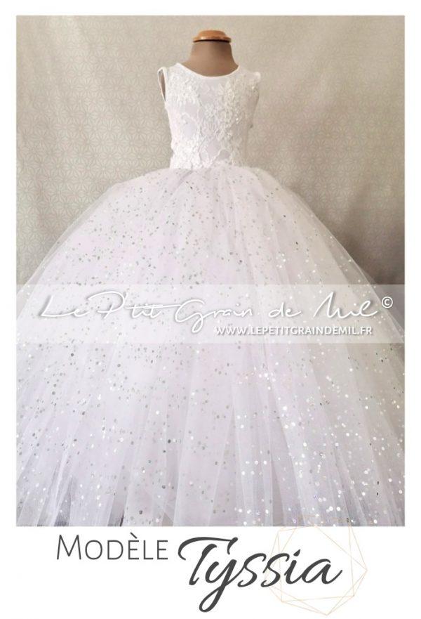 Robe bustier dentelle blanche et jupon en tulle princesse pour Mariage