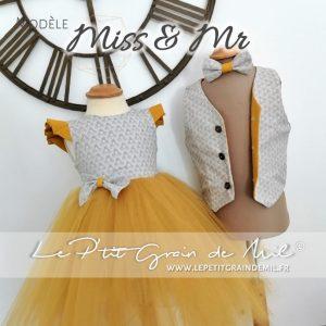 duo vêtement cérémonie mariage fille garçon gilet personnalisé et robe enfant assortie