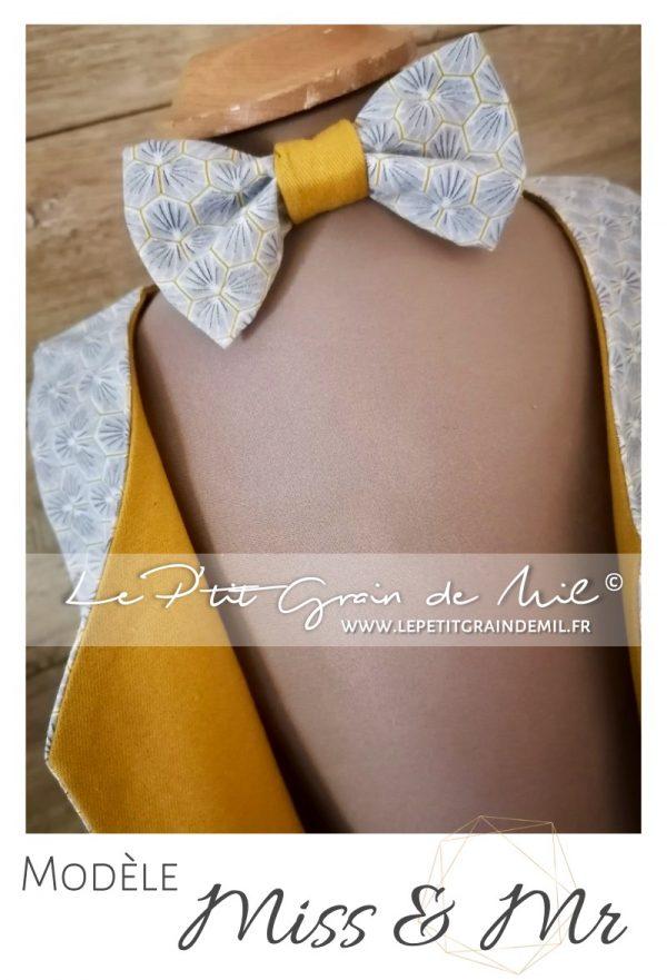 gilet noeud papillon cérémonie garçon personnalisé gris et moutarde mariage cérémonie cortege enfant garçon