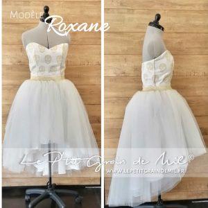 jupe tutu asymétrique en tulle blanc ivoire doré bustier mariage mariée cérémonie chic