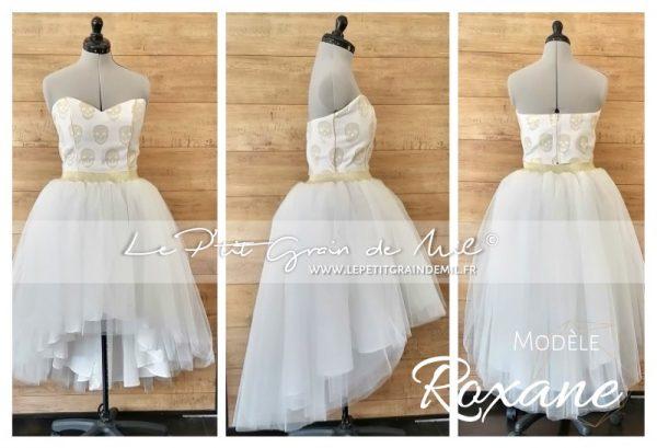 jupe tutu asymétrique en tulle blanc ivoire doré bustier mariage mariée cérémonie strass