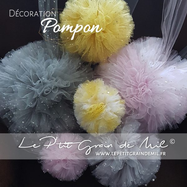 pompons tulle décoration chambre mariage rose poudré gris blanc sequins paillettes