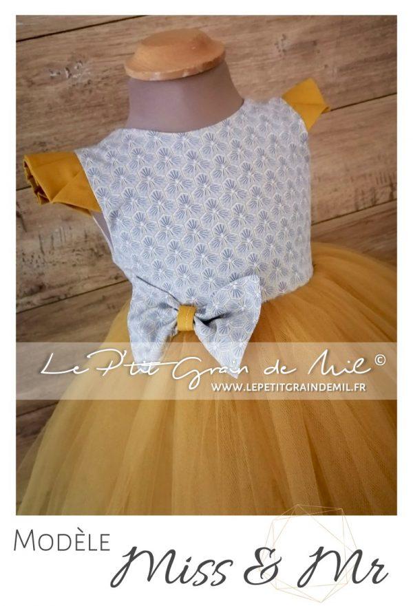 robe cérémonie enfant gris et or moutarde dos nu mariage cortege princesse tutu tulle liberty coton