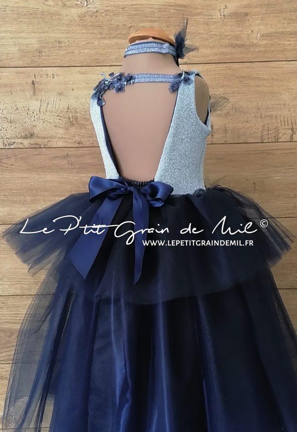 robe de cérémonie princesse dos nu en tulle à volants bleu marine et bleu ciel paillettes