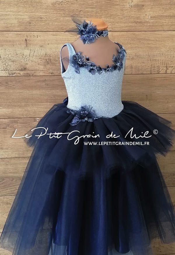 robe de mariage enfant princesse dos nu en tulle à volants bleu marine et bleu ciel paillettes