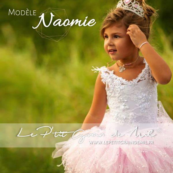 robe de mariage princesse courte enfant tulle et dentelle rose paillettes