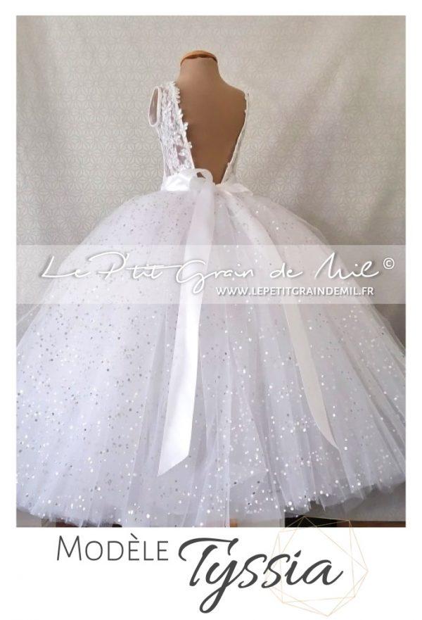robe de petite fille pour mariage princesse tulle dentelle dos nu sequins paillettes