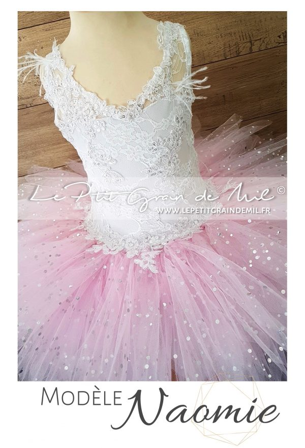 robe mariage fille princesse dentelle tulle paillettes rose blanche