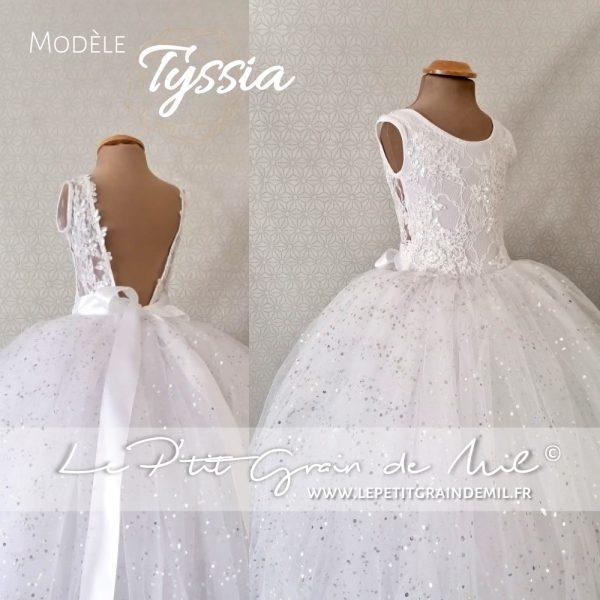 robe mariage princesse fille fillette tulle dentelle dos nu sequins paillettes