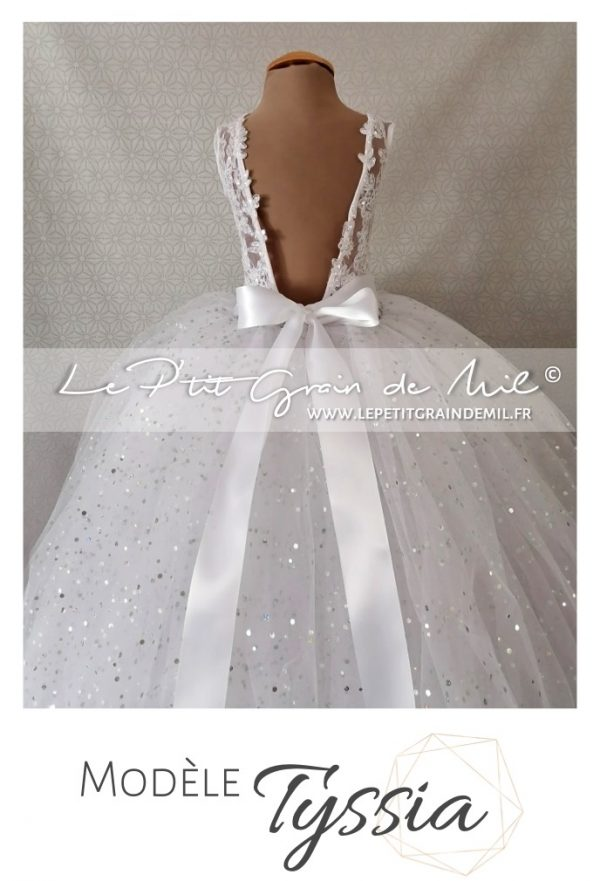 robe mariage princesse petite fille tulle dentelle dos nu sequins paillettes