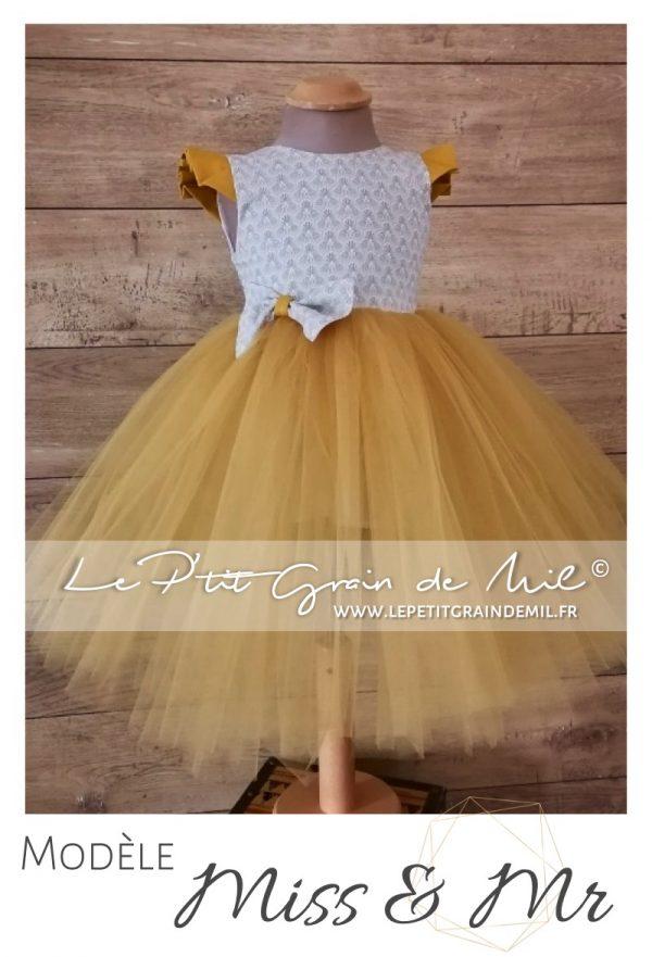 robe petite fille gris et or moutarde dos nu cérémonie mariage cortege princesse tutu tulle liberty coton
