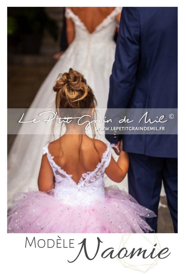 robe princesse mariage dos nu demoiselle d'honneur cortege petite fille rose et blanc