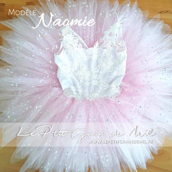 robe tutu cérémonie mariage fille dentelle tulle dos nu princesse rose paillettes