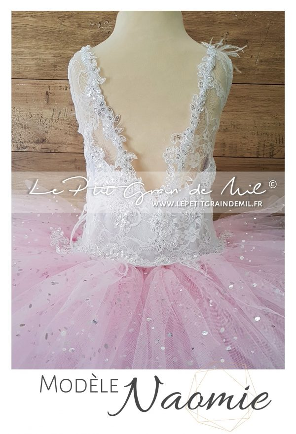 robe tutu courte mariage fille princesse tulle dentelle plumes