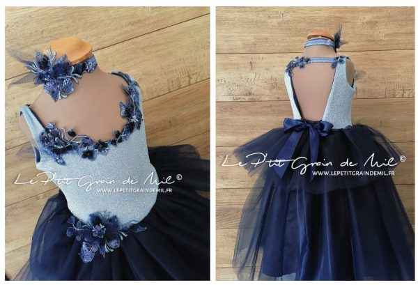 robe tutu de cérémonie princesse bleue à paillettes en tulle