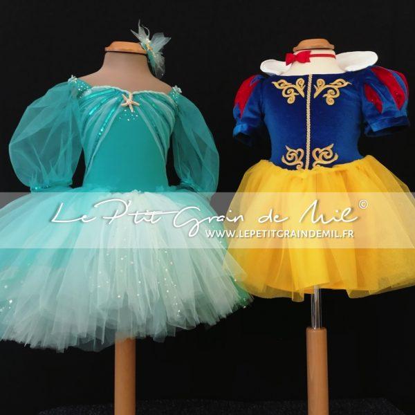 robe tutu de princesse en tulle déguisement princesse blanche neige arielle la petite sirène cadeau de noël fille enfant
