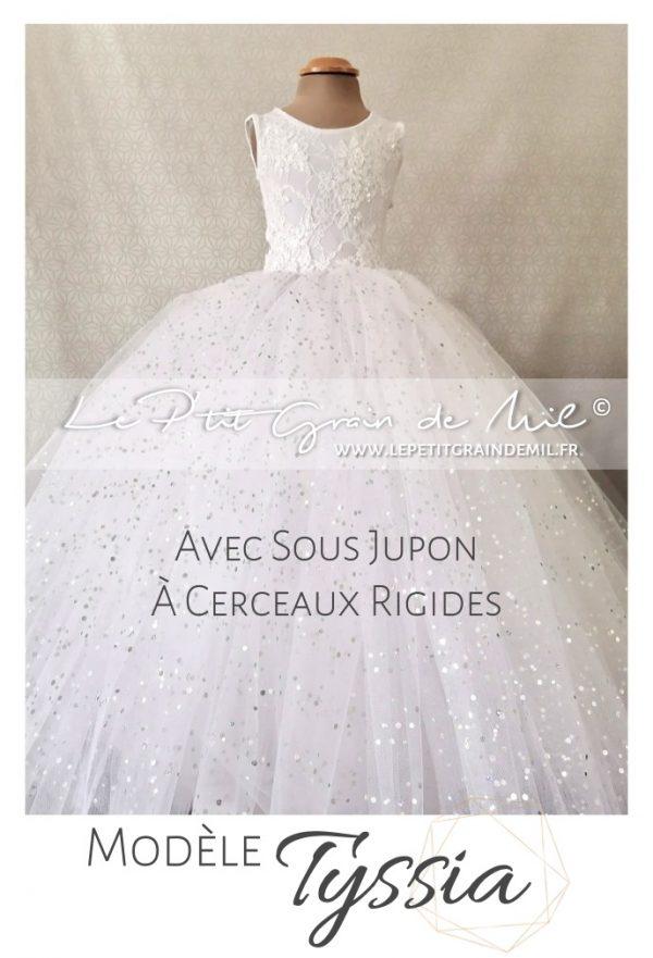 robe tutu de princesse maxi volume cérémonie mariage petite fille d'honneur dentelle tulle paillettes
