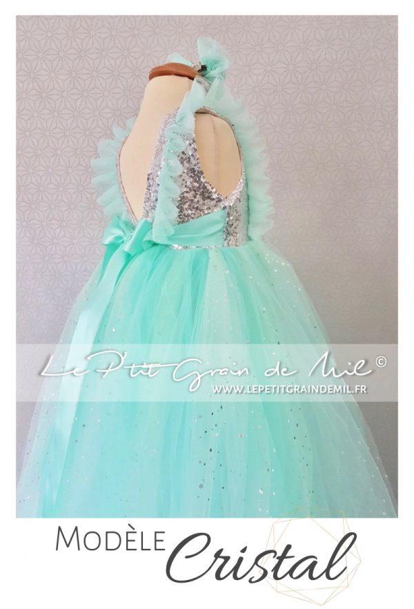 robe tutu de princesse sequins argent enfant or rose fille cérémonie mariage annivesraire