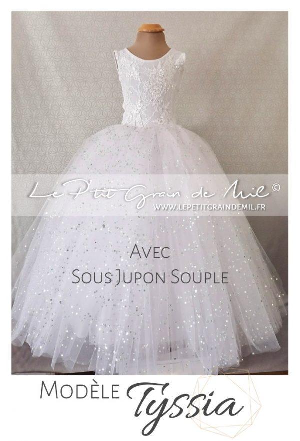robe tutu de princesse volume cérémonie mariage petite fille d'honneur dentelle tulle paillettes